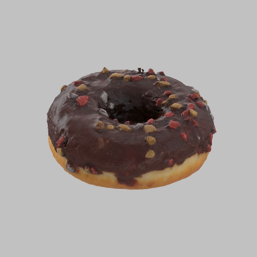 Christmas Frosting Chocolate Donut royalty-free 3d model - Preview no. 3