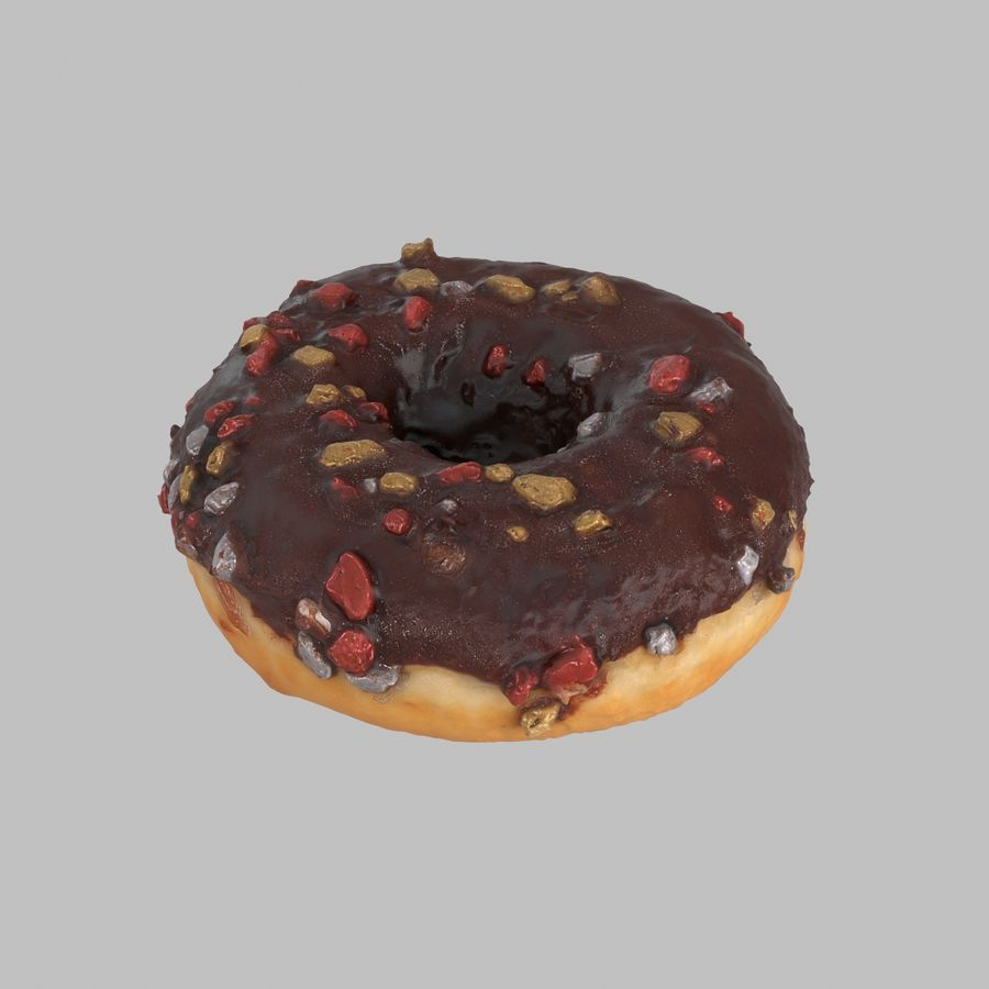 Christmas Frosting Chocolate Donut royalty-free 3d model - Preview no. 1