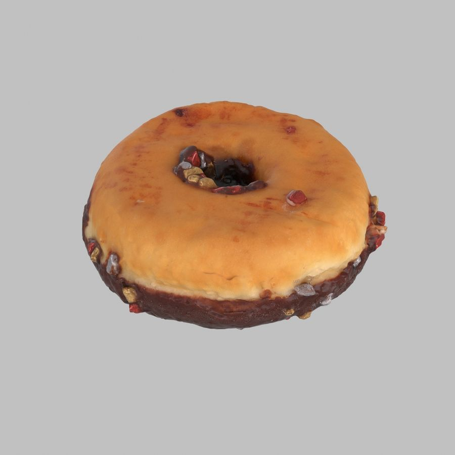 Christmas Frosting Chocolate Donut royalty-free 3d model - Preview no. 5