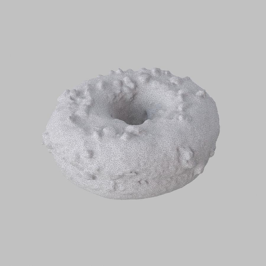 Christmas Frosting Chocolate Donut royalty-free 3d model - Preview no. 7