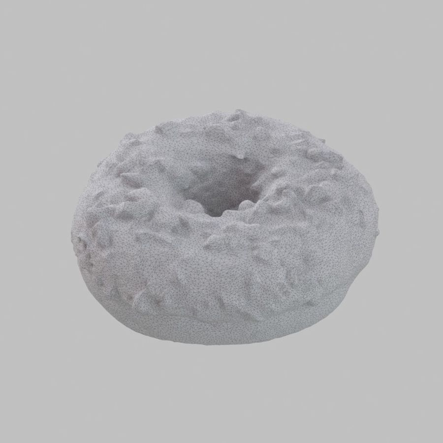 Hazelnut Frosting Chocolate Donut royalty-free 3d model - Preview no. 8