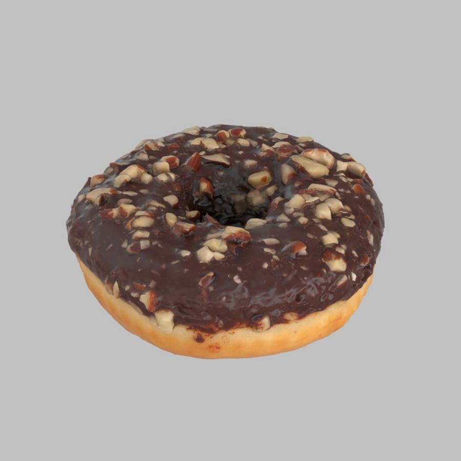 Hazelnut Frosting Chocolate Donut royalty-free 3d model - Preview no. 1