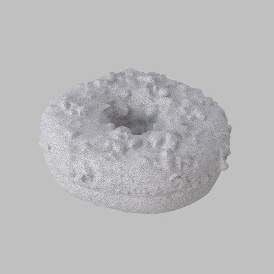 Hazelnut Frosting Chocolate Donut royalty-free 3d model - Preview no. 7