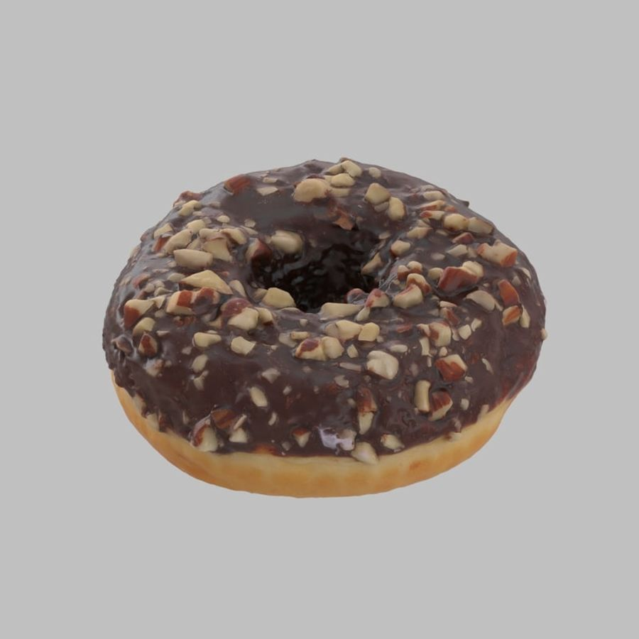 Hazelnut Frosting Chocolate Donut royalty-free 3d model - Preview no. 3