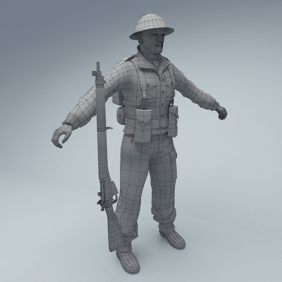 British soldier royalty-free 3d model - Preview no. 4