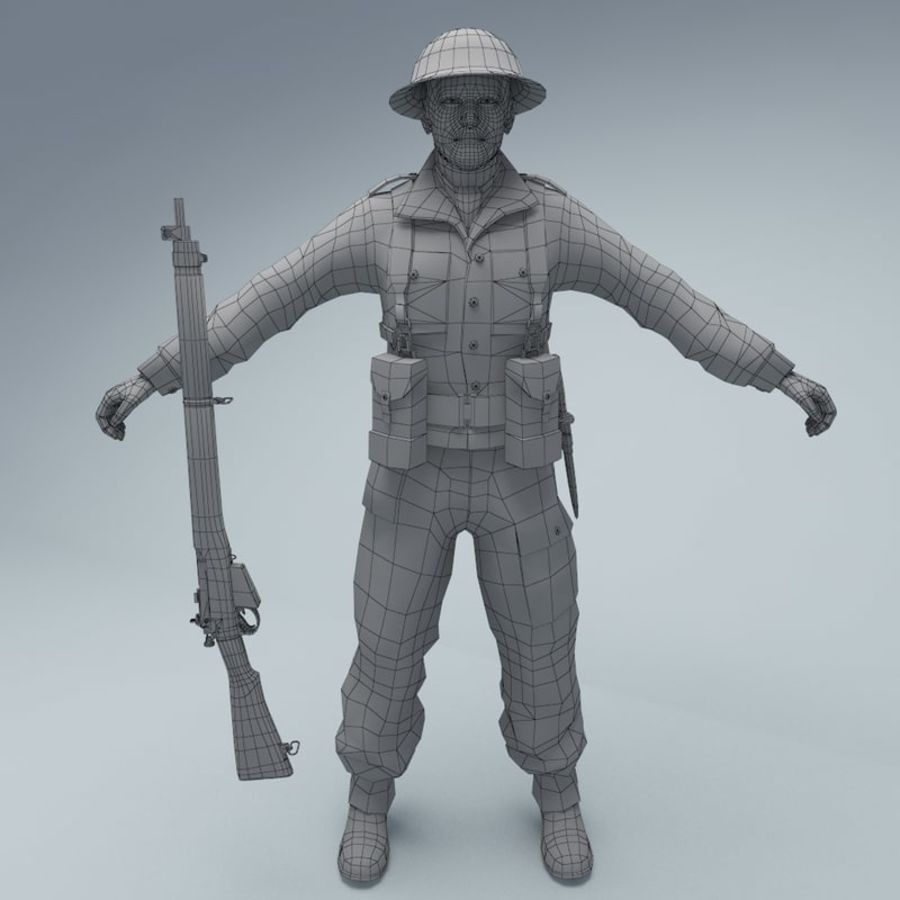 British soldier royalty-free 3d model - Preview no. 2