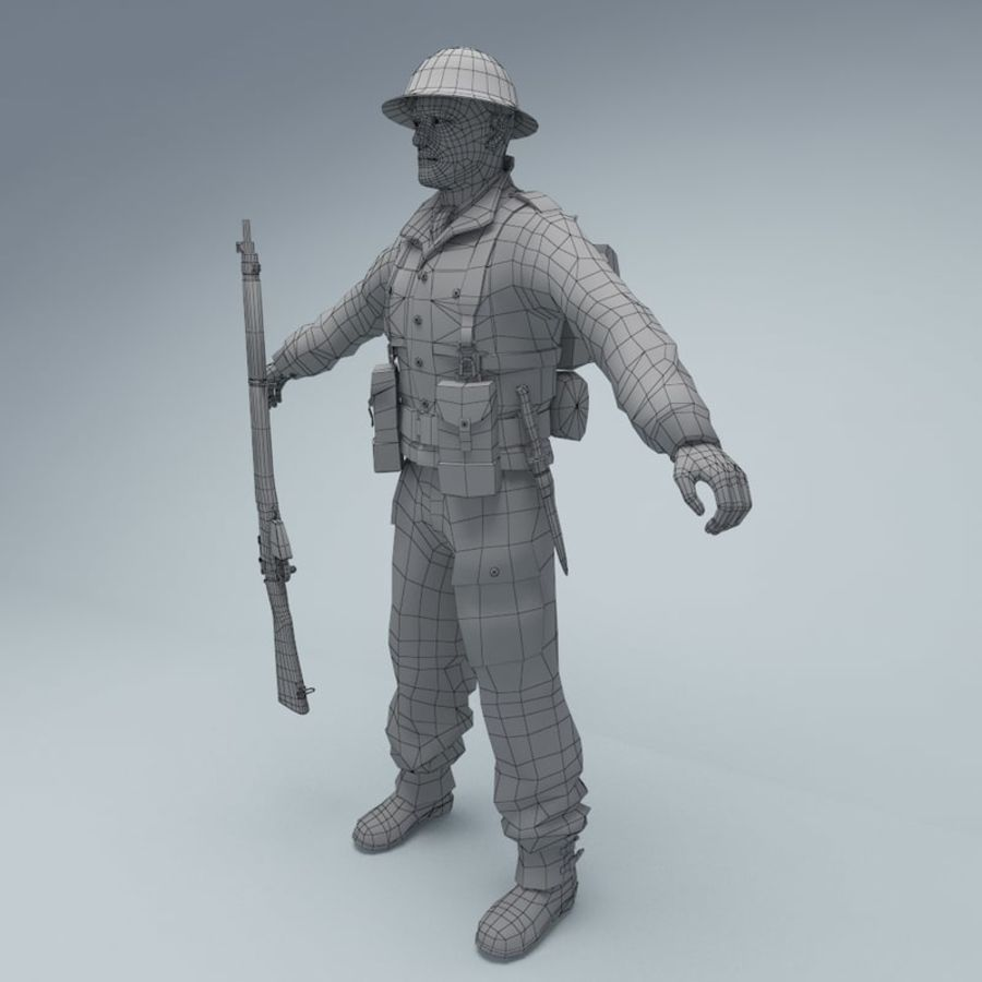 British soldier royalty-free 3d model - Preview no. 8