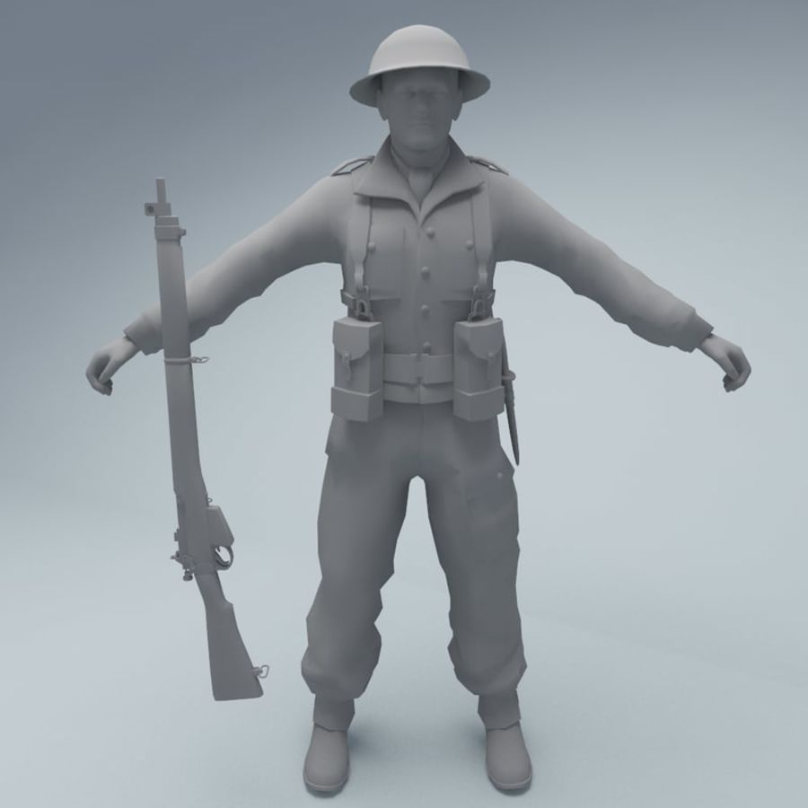 British soldier royalty-free 3d model - Preview no. 3