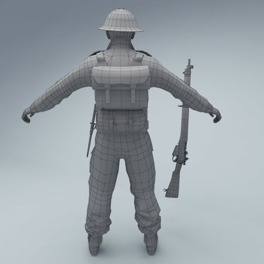 British soldier royalty-free 3d model - Preview no. 6