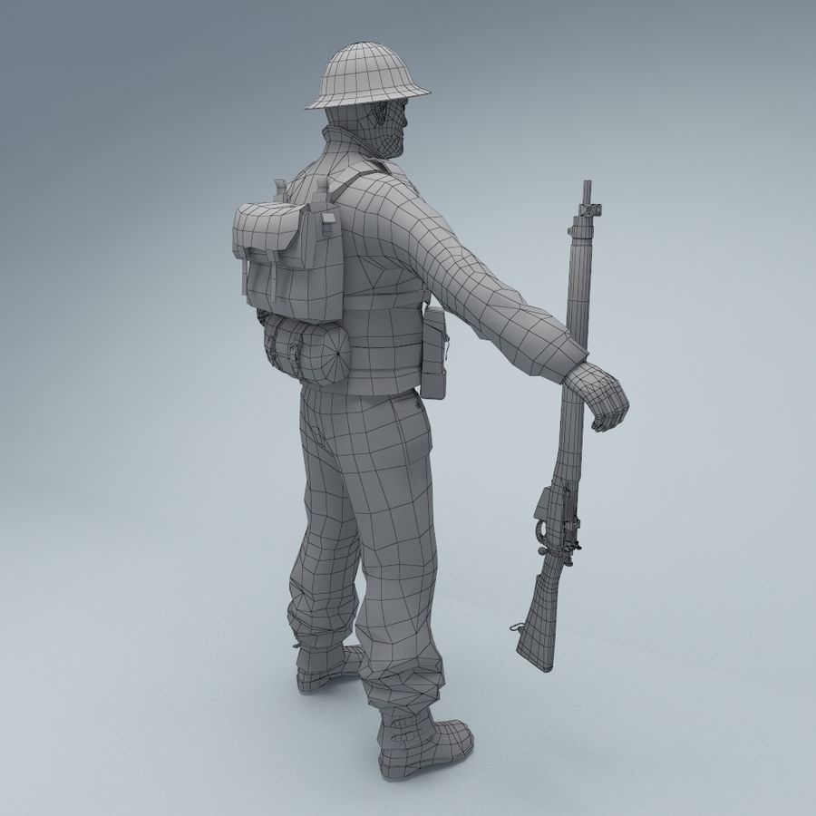 British soldier royalty-free 3d model - Preview no. 5