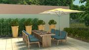 Gartenmöbel und Pflanzen 3d model