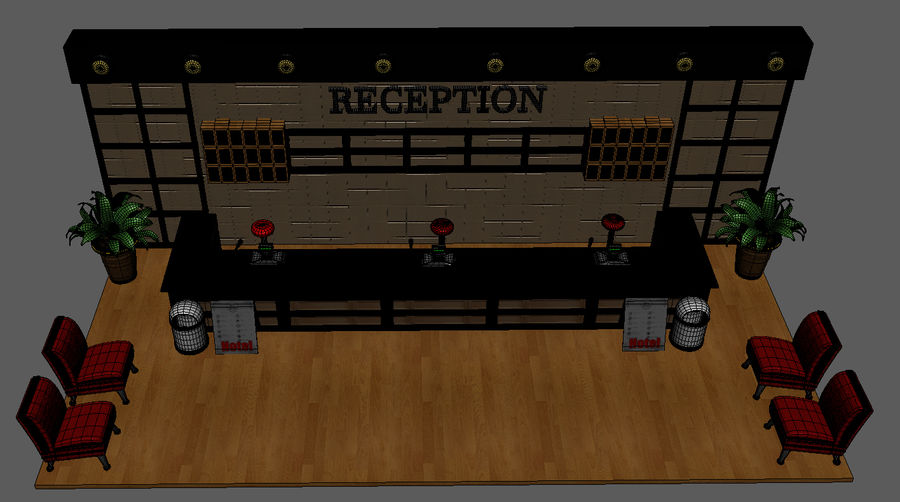 Hotel Reception Desk royalty-free 3d model - Preview no. 12
