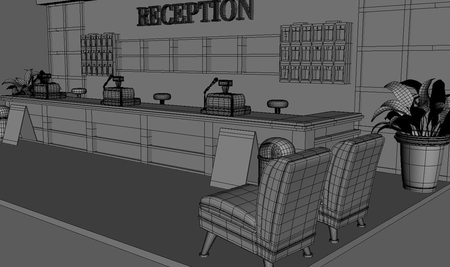 Hotel Reception Desk royalty-free 3d model - Preview no. 5