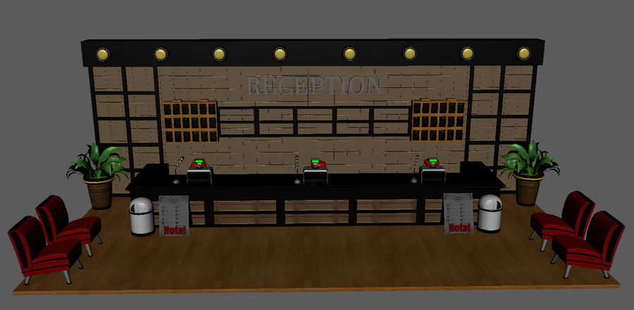 Hotel Reception Desk royalty-free 3d model - Preview no. 2