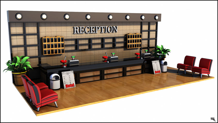 Hotel Reception Desk royalty-free 3d model - Preview no. 1