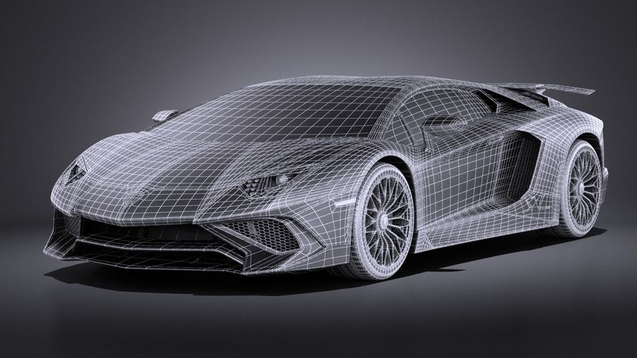 Lamborghini Aventador LP750-4 SV Roadster 2016 VRAY royalty-free 3d model - Preview no. 20