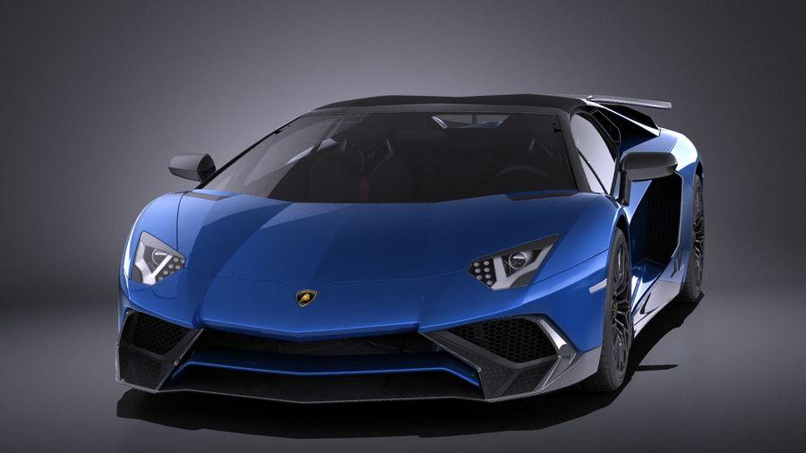 Lamborghini Aventador LP750-4 SV Roadster 2016 VRAY royalty-free 3d model - Preview no. 3