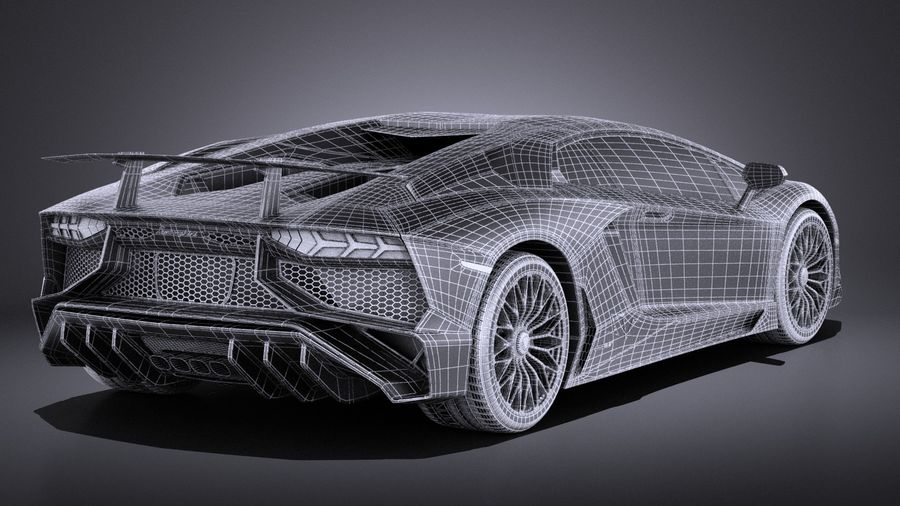 Lamborghini Aventador LP750-4 SV Roadster 2016 VRAY royalty-free 3d model - Preview no. 21