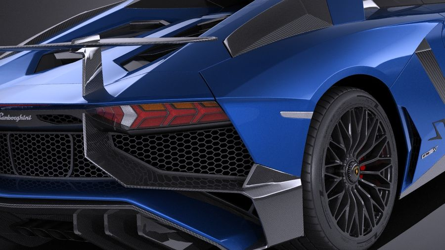 Lamborghini Aventador LP750-4 SV Roadster 2016 VRAY royalty-free 3d model - Preview no. 5