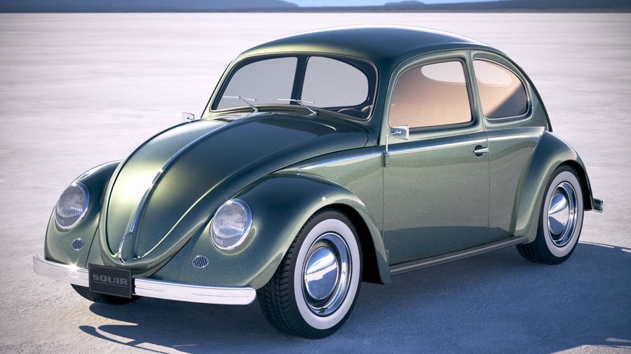 Vokswagen Beetle 1950 royalty-free 3d model - Preview no. 1