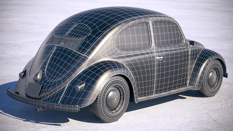 Vokswagen Beetle 1950 royalty-free 3d model - Preview no. 18
