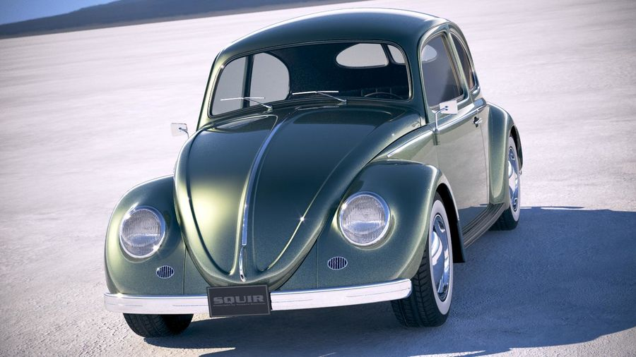 Vokswagen Beetle 1950 royalty-free 3d model - Preview no. 2