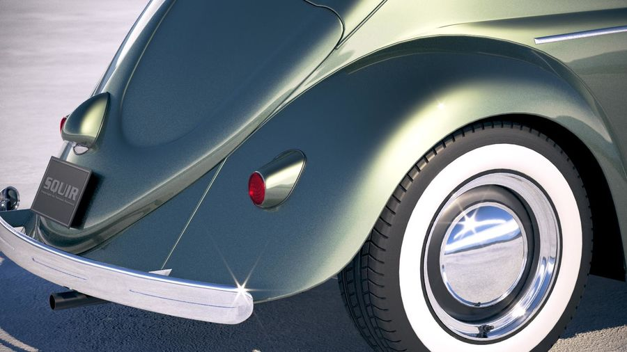 Vokswagen Beetle 1950 royalty-free 3d model - Preview no. 4