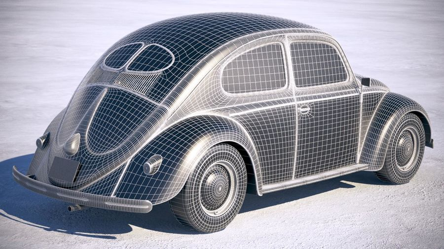 Vokswagen Beetle 1950 royalty-free 3d model - Preview no. 16