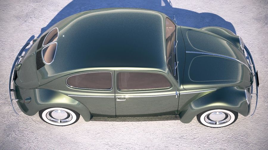 Vokswagen Beetle 1950 royalty-free 3d model - Preview no. 8