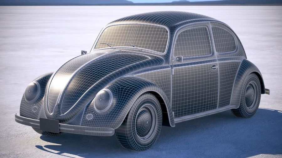 Vokswagen Beetle 1950 royalty-free 3d model - Preview no. 15