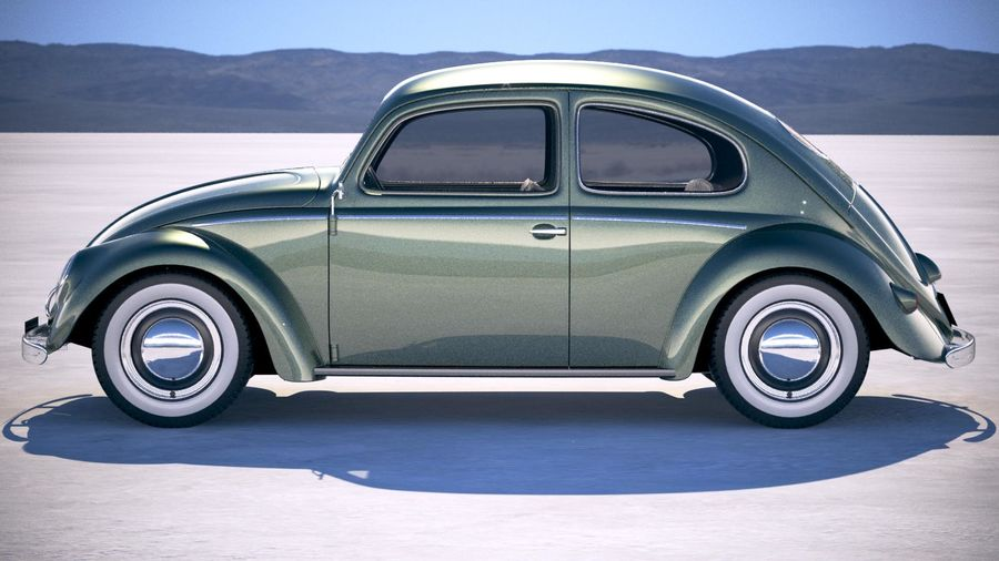 Vokswagen Beetle 1950 royalty-free 3d model - Preview no. 7