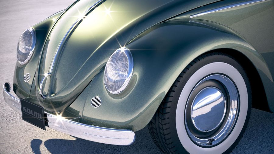 Vokswagen Beetle 1950 royalty-free 3d model - Preview no. 3