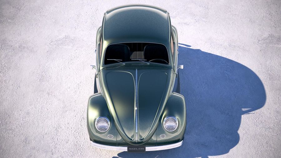 Vokswagen Beetle 1950 royalty-free 3d model - Preview no. 9