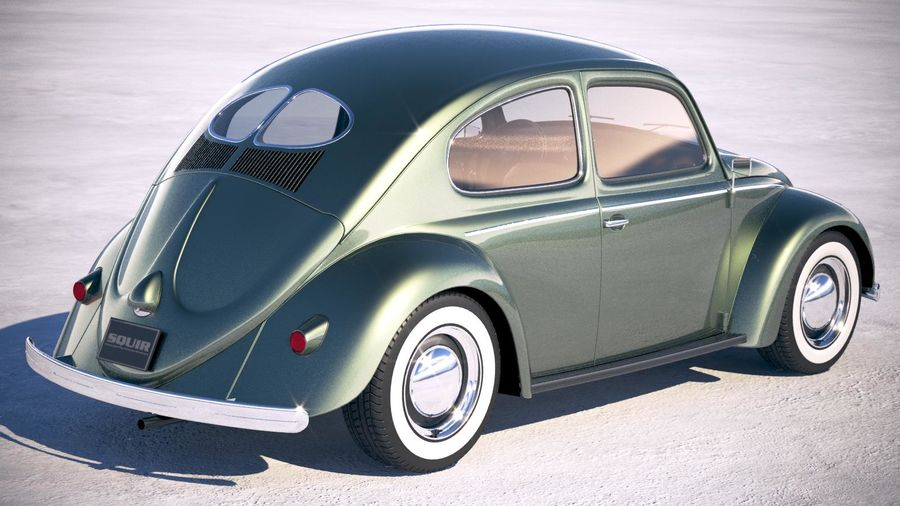 Vokswagen Beetle 1950 royalty-free 3d model - Preview no. 5