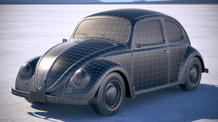 Vokswagen Beetle 1950 royalty-free 3d model - Preview no. 17