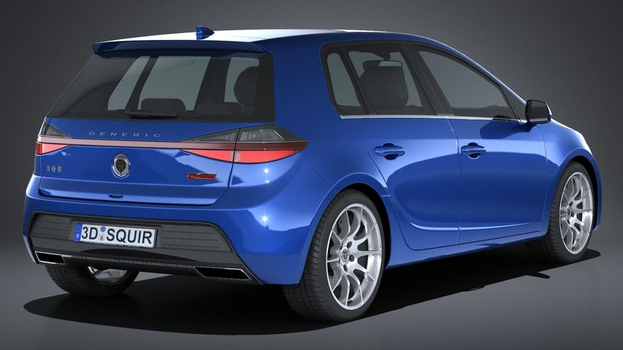 Generic Hatchback 2017 royalty-free 3d model - Preview no. 6