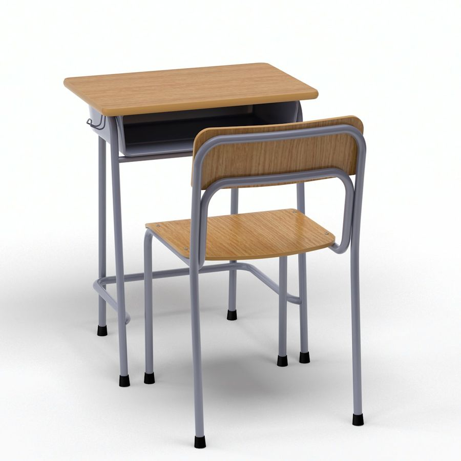 Bureau d'école et chaise V2 royalty-free 3d model - Preview no. 6