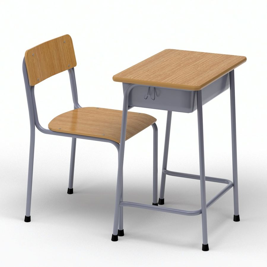 Bureau d'école et chaise V2 royalty-free 3d model - Preview no. 11