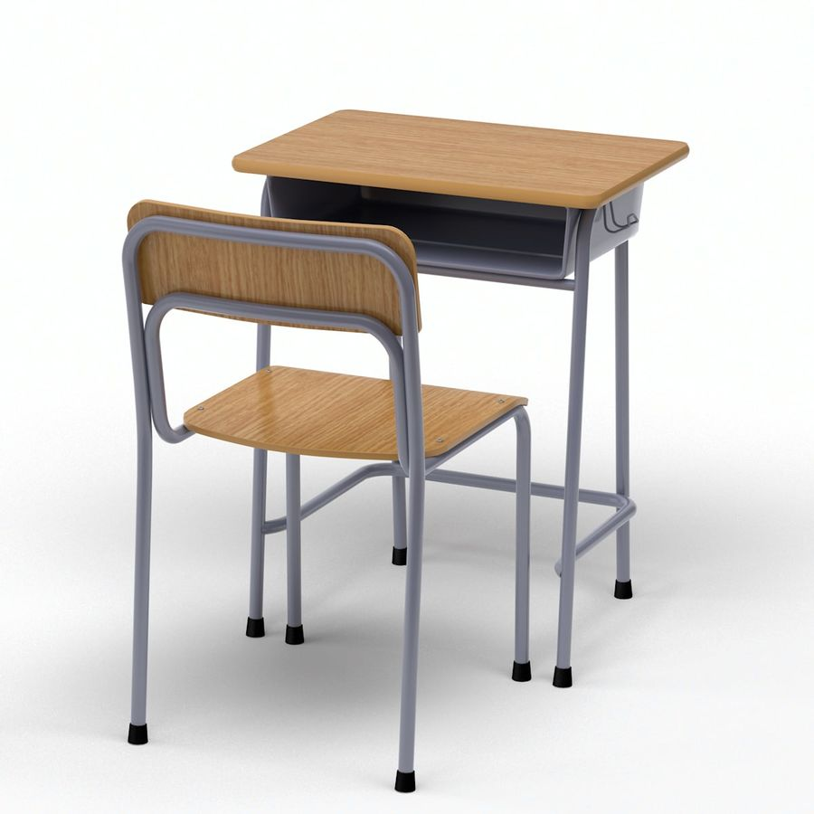 Bureau d'école et chaise V2 royalty-free 3d model - Preview no. 5