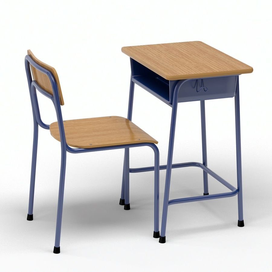 Bureau d'école et chaise V2 royalty-free 3d model - Preview no. 2