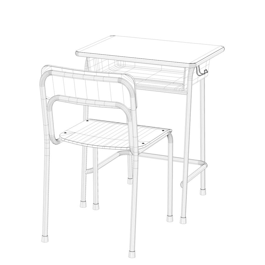 Bureau d'école et chaise V2 royalty-free 3d model - Preview no. 17