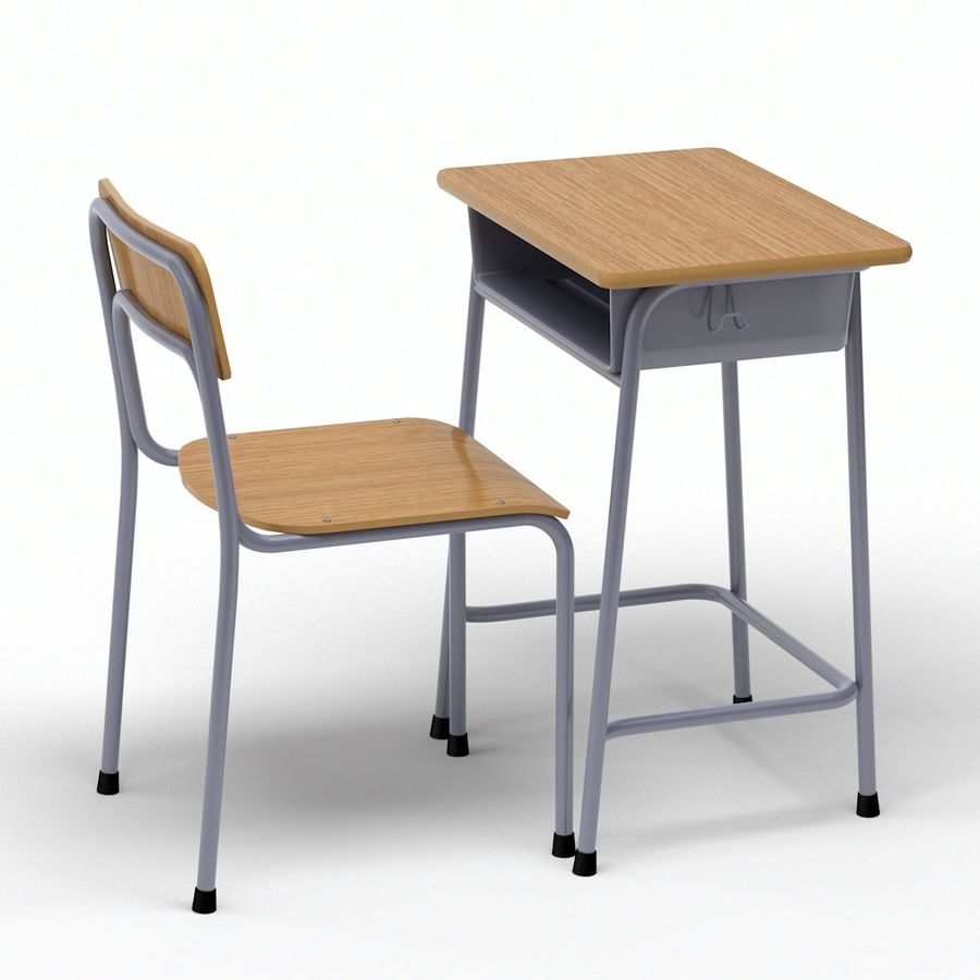 School Desk and Chair V2 royalty-free 3d model - Preview no. 4
