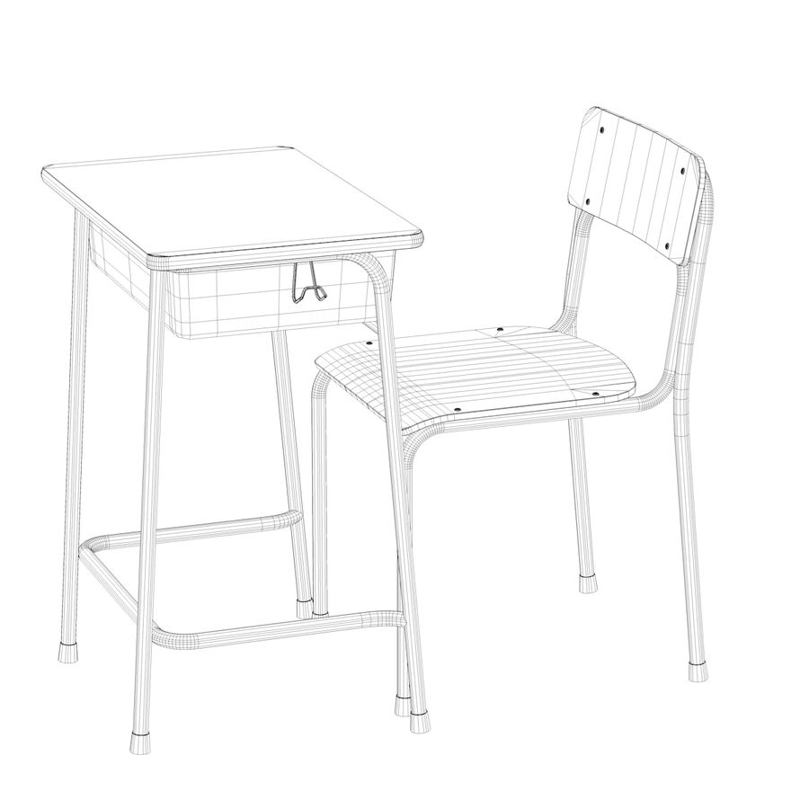 Bureau d'école et chaise V2 royalty-free 3d model - Preview no. 20