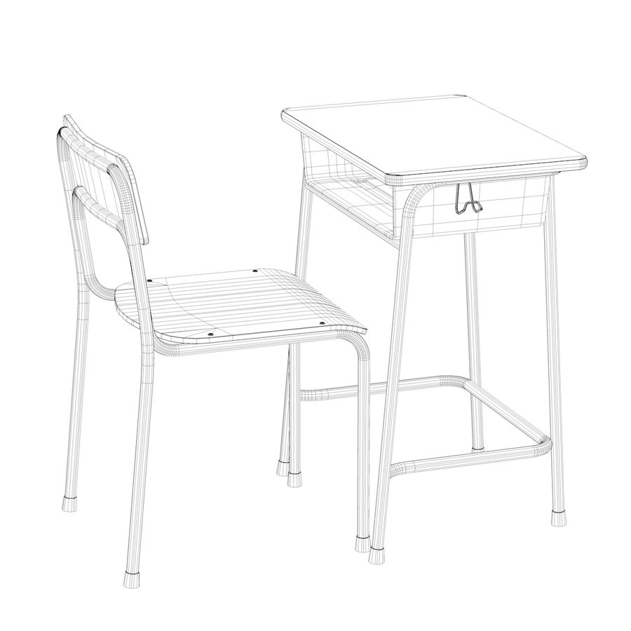 Bureau d'école et chaise V2 royalty-free 3d model - Preview no. 16