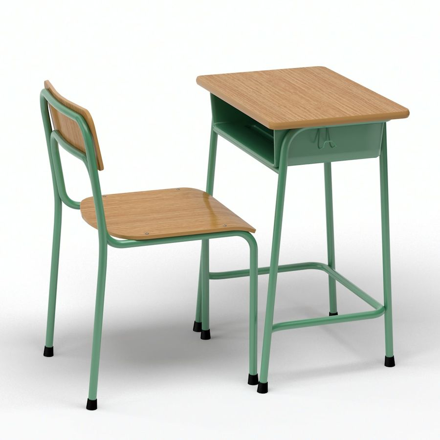 Bureau d'école et chaise V2 royalty-free 3d model - Preview no. 3