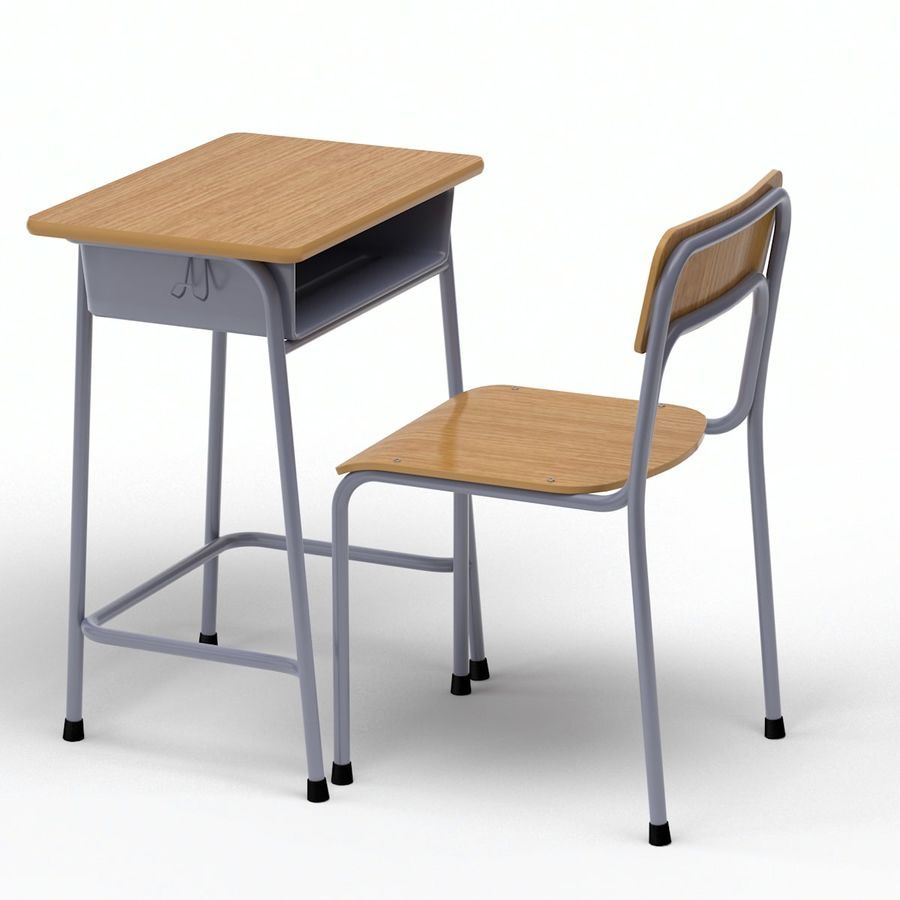 School Desk and Chair V2 royalty-free 3d model - Preview no. 7