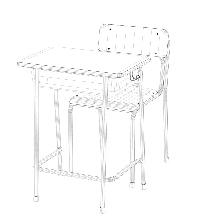 Bureau d'école et chaise V2 royalty-free 3d model - Preview no. 21