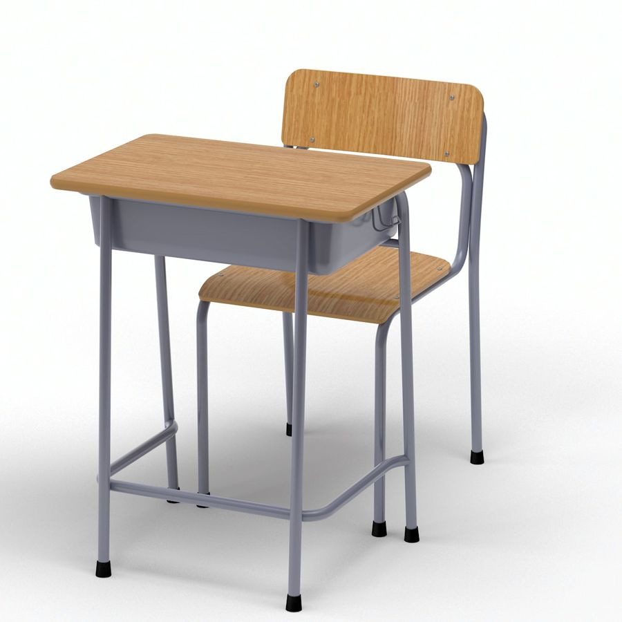 Bureau d'école et chaise V2 royalty-free 3d model - Preview no. 9