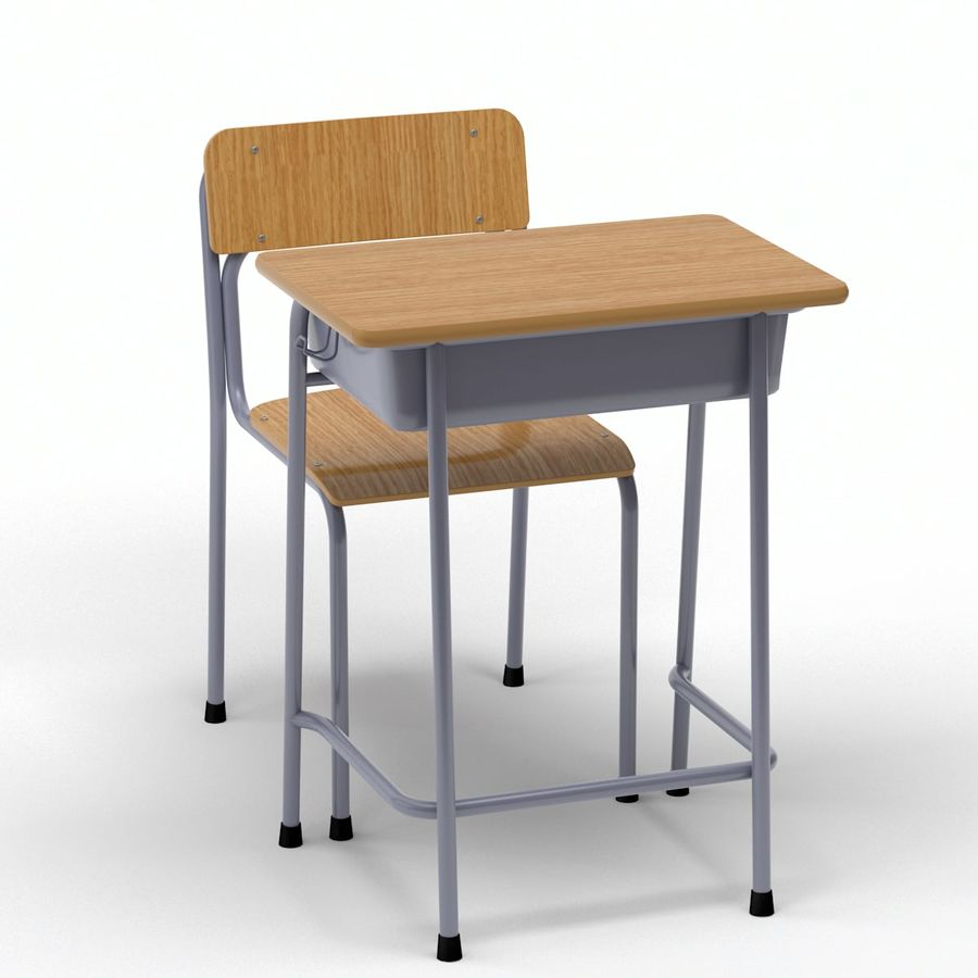 Bureau d'école et chaise V2 royalty-free 3d model - Preview no. 10