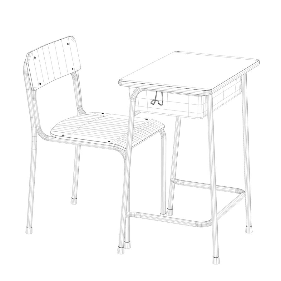 Bureau d'école et chaise V2 royalty-free 3d model - Preview no. 23